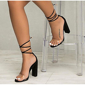 cheap Women's Sandals-Women's Sandals Summer Chunky Heel Open Toe Daily PU White / Black / Clear / Transparent / PVC