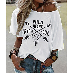 cheap Tools & Accessories-Women's T-shirt Geometric Print Tops White Yellow Blushing Pink / Short Sleeve