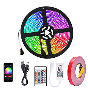cheap LED Strip Lights-ZDM® 5m LED Light Strips RGB Tiktok Lights Smart Lights 150 LEDs 5050 SMD 10mm 1 24Keys Remote Controller 1 DC Cables WiFi Controller 1 set APP Control USB Self-adhesive 5 V USB Powered