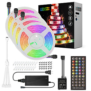 cheap LED String Lights-ZDM 20M(4*5M) LED Light Strips RGB Tiktok Lights Music Sync Timed Remote Waterproof Flexible 5050 SMD 600 LEDs IR 40 Key Controller with Installation Package 12V 8A Adapter Kit