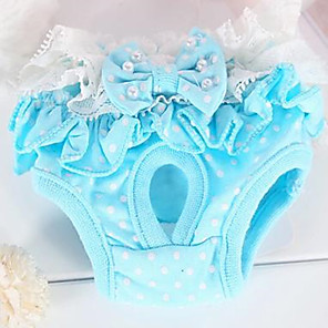 cheap Dog Clothes-Rodents Dog Cat Pants Dog Clothes Yellow Blue Costume Terylene Bowknot Sweet Style Casual / Daily
