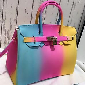 cheap Handbag & Totes-Women's Zipper PU Top Handle Bag Color Block Yellow / Blushing Pink / Red