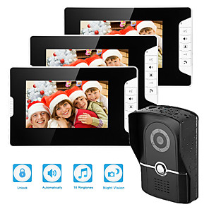 cheap Video Door Phone Systems-Wired 7 Inch Hands-free 800*480 Pixel One To Three Video Doorphone
