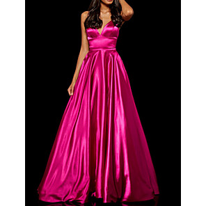 cheap Prom Dresses-A-Line Minimalist Pink Engagement Prom Dress Spaghetti Strap Sleeveless Floor Length Polyester with Sleek 2020