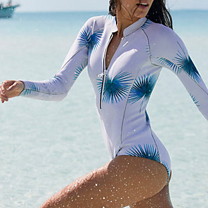 cheap Wetsuits, Diving Suits & Rash Guard Shirts-Women's One Piece Swimsuit Leaves Print Padded Swimwear Swimwear White Thermal / Warm Breathable Quick Dry Long Sleeve - Swimming Surfing Water Sports Autumn / Fall Spring / Stretchy
