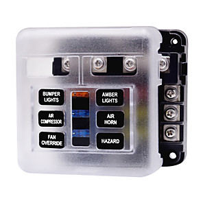 cheap Car Alarms-32V Car automatic Circuit Breaker / Independent Positive and Negative One in and Multiple out Fuse Box with LED Indicator Light 1 in 6 out / Send Double Fuse / Environmental Protection Material