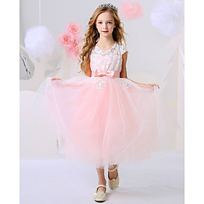 cheap Girls' Dresses-Ball Gown Ankle Length Event / Party / Birthday Flower Girl Dresses - Polyester Short Sleeve Jewel Neck with Bow(s) / Appliques