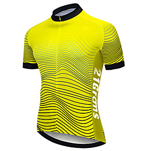 cheap Cycling Jerseys-21Grams Men's Short Sleeve Cycling Jersey Black / Yellow Stripes Bike Jersey Top Mountain Bike MTB Road Bike Cycling UV Resistant Breathable Quick Dry Sports Clothing Apparel / Stretchy / Race Fit