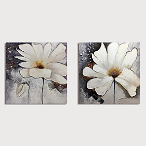cheap Floral/Botanical Paintings-Hand Painted Canvas Oilpainting Abstract Flowers Set of 2 Home Decoration with Frame Painting Ready to Hang