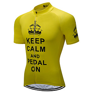 cheap Cycling Jerseys-21Grams Men's Short Sleeve Cycling Jersey Purple Yellow Pink Crown Bike Jersey Top Mountain Bike MTB Road Bike Cycling UV Resistant Breathable Quick Dry Sports Clothing Apparel / Stretchy / Race Fit