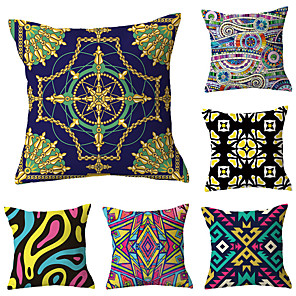 cheap Pillow Covers-6 pcs Polyester Pillow Cover, Art Deco Floral Print Simple Classic Square Traditional Classic