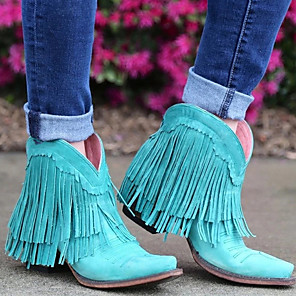 cheap Women's Boots-Women's Boots Cowboy / Western Boots Chunky Heel Round Toe PU Booties / Ankle Boots Fall & Winter Yellow / Blue / Pink