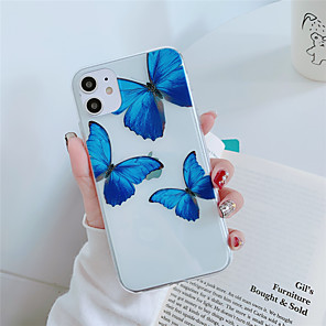 cheap iPhone Cases-Case For Apple iPhone 11 11 Pro  11 Pro Max Blue butterfly pattern High penetration TPU material Painting process scratch proof phone case