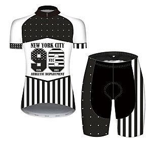cheap Cycling Jersey & Shorts / Pants Sets-21Grams Women's Short Sleeve Cycling Jersey with Shorts Black / White American / USA Stars National Flag Bike Clothing Suit Breathable Quick Dry Ultraviolet Resistant Sweat-wicking Sports American