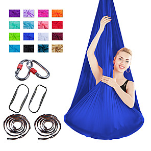 cheap Fitness Gear & Accessories-Aerial Yoga Swing Set Yoga Hammock / Sling Kit 7 pcs Extension Straps Sports Nylon Aerial Yoga Inversion Exercises Air Yoga Ultra Strong Antigravity Anti-tear Decompression Inversion Therapy Heal