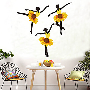 cheap Wall Stickers-Sunflower Girl Wall Stickers DIY Ballet Dancer Mural Dormitory Decals for House Kids Rooms Baby Bedroom Nursery Decoration