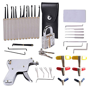 cheap Tool Sets-29 Pcs Transparent Lock  Plated Unlocking Tool Kit