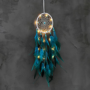 cheap Dreamcatcher-Dream Catcher Handmade Feather Bead Party Festival Hanging Decoration Ornament Gift Home Room Girl DIY Crafts Accessories