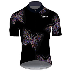 cheap Cycling Jerseys-21Grams Men's Short Sleeve Cycling Jersey Black / White Butterfly Bike Jersey Top Mountain Bike MTB Road Bike Cycling UV Resistant Breathable Quick Dry Sports Clothing Apparel / Stretchy / Race Fit