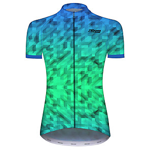 cheap Cycling Jerseys-21Grams Women's Short Sleeve Cycling Jersey Green Plaid / Checkered Geometic Bike Jersey Top Mountain Bike MTB Road Bike Cycling UV Resistant Breathable Quick Dry Sports Clothing Apparel / Stretchy