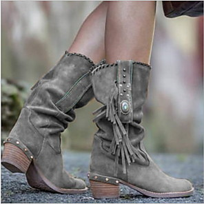 cheap Women's Boots-Women's Boots Chunky Heel Round Toe Suede Mid-Calf Boots Winter Yellow / Khaki / Brown