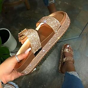 cheap Women's Sandals-Women's Slippers & Flip-Flops Flat Heel Open Toe PU Summer Gold / Silver