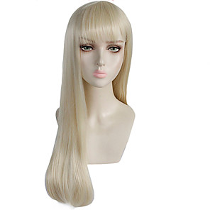 cheap Synthetic Trendy Wigs-GAGA LADY Cosplay Wigs Women's Straight bangs 26 inch Heat Resistant Fiber kinky Straight Blonde Blonde Anime