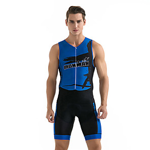 cheap Cycling Jersey & Shorts / Pants Sets-21Grams Men's Sleeveless Triathlon Tri Suit Spandex Polyester Black / Blue Geometic Bike Clothing Suit UV Resistant Breathable 3D Pad Quick Dry Sweat-wicking Sports Solid Color Mountain Bike MTB Road
