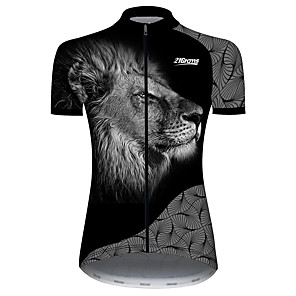 cheap Cycling Jerseys-21Grams Women's Short Sleeve Cycling Jersey Black / White Geometic Animal Lion Bike Jersey Top Mountain Bike MTB Road Bike Cycling UV Resistant Breathable Quick Dry Sports Clothing Apparel / Stretchy