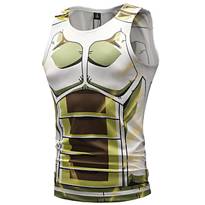 cheap Synthetic Lace Wigs-Inspired by Dragon Ball Cosplay Costume T-shirt Polyster Print Printing Fancy Vest For Men's