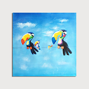 cheap Abstract Paintings-Hand Painted Canvas Oilpainting Abstract Birds Home Decoration with Frame Painting Ready to Hang