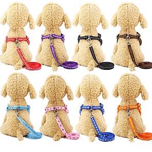 cheap Dog Collars, Harnesses & Leashes-Dog Cat Outfits Harness Leash Trainer Walking For Dog / Cat Anti Lost Geometric Footprint / Paw Nylon Husky Golden Retriever Dalmatian Japanese Spitz Corgi Beagle Black Rainbow
