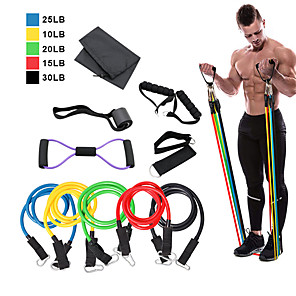 cheap iPhone Cases-Resistance Band Set 12 pcs 5 Stackable Exercise Bands Door Anchor Legs Ankle Straps Sports TPE Home Workout Pilates Heavy-duty Carabiner Strength Training Muscular Bodyweight Training Muscle Building