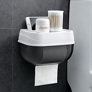 cheap Bathroom Gadgets-Wall Mount Toilet Paper Holder Shelf Tissue Box Waterproof Toilet Paper Tray Roll Paper Tube Bathroom Storage Box Organizer