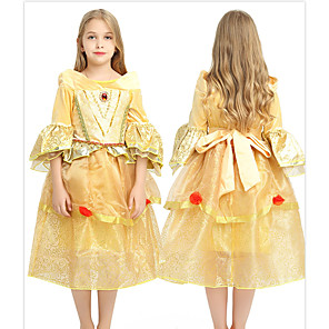 cheap Movie & TV Theme Costumes-Princess Fairytale Belle Dress Party Costume Kid's Ball Gown Slip Dresses Birthday Christmas Halloween Masquerade Festival / Holiday Tulle Yellow Carnival Costumes Solid Colored Color Block Adorable