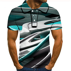 cheap MP3 player-Men's Plus Size Polo Graphic Short Sleeve Slim Tops Streetwear Exaggerated Shirt Collar Rainbow