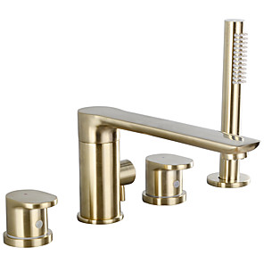 cheap Bathtub Faucets-Bathtub Faucet - Contemporary Deck Mounted Roman Tub Brass Bath Shower Mixer Taps with Handshower Black or Chrome or Brushed Gold