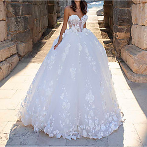 cheap Smartwatch Bands-Ball Gown Wedding Dresses Sweetheart Neckline Sweep / Brush Train Polyester Sleeveless Country Sexy Plus Size with Lace Insert Appliques 2020