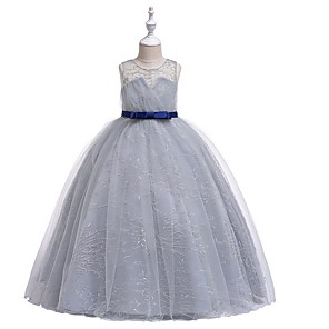 cheap Movie & TV Theme Costumes-Princess Round Floor Length Cotton Junior Bridesmaid Dress with Bow(s) / Embroidery