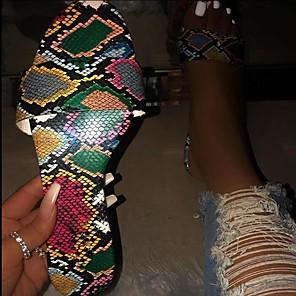 cheap Women's Sandals-Women's Slippers & Flip-Flops 2020 Flat Heel Open Toe PU Classic / Vintage Spring &  Fall / Spring & Summer Dark Green / White / Party & Evening