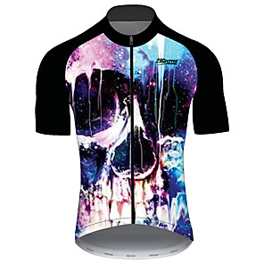 cheap Cycling Jerseys-21Grams Men's Short Sleeve Cycling Jersey Black / Blue Skull Bike Jersey Top Mountain Bike MTB Road Bike Cycling UV Resistant Breathable Quick Dry Sports Clothing Apparel / Stretchy