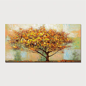 cheap Abstract Paintings-Hand Painted Canvas Oilpainting Abstract Landscape Tree Home Decoration with Frame Painting Ready to Hang