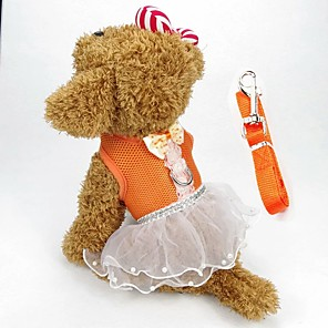 cheap Dog Clothes-Dog Harness Dress Dog Clothes Red Pink Orange Costume Fabric Bowknot Holiday Casual / Daily XS S M L