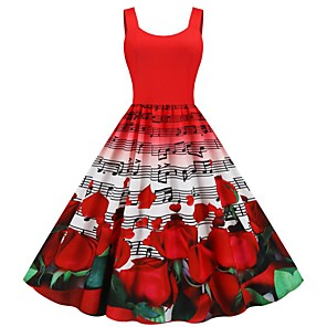 cheap Historical & Vintage Costumes-Women's Sheath Dress - Sleeveless Print Patchwork Print Vintage Style Daily Belt Not Included Slim Black Red Rainbow S M L XL XXL
