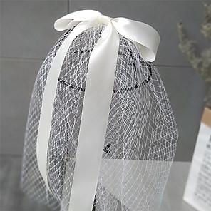 cheap Wedding Veils-Two-tier Cute Wedding Veil Shoulder Veils with Solid 75 cm Chiffon