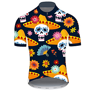 cheap Cycling Jerseys-21Grams Men's Short Sleeve Cycling Jersey Black / Yellow Geometic Skull Floral Botanical Bike Jersey Top Mountain Bike MTB Road Bike Cycling UV Resistant Breathable Quick Dry Sports Clothing Apparel