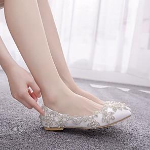 cheap Women's Flats-Women's Flats Flat Heel Pointed Toe Rhinestone / Sparkling Glitter / Sequin PU Sweet / Minimalism Spring & Summer / Fall & Winter White / Wedding / Party & Evening