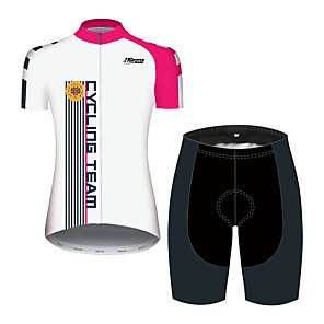 cheap Cycling Jersey & Shorts / Pants Sets-21Grams Women's Short Sleeve Cycling Jersey with Shorts Black / White Stripes Bike Clothing Suit Breathable Quick Dry Ultraviolet Resistant Sweat-wicking Sports Solid Color Mountain Bike MTB Road