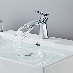 cheap Bathroom Sink Faucets-Bathroom Sink Faucet - Waterfall Chrome / Electroplated Centerset Single Handle One HoleBath Taps