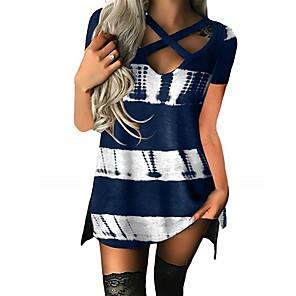 cheap Synthetic Lace Wigs-Women's T-shirt Striped Tie Dye Tops Black Blue Purple / Short Sleeve